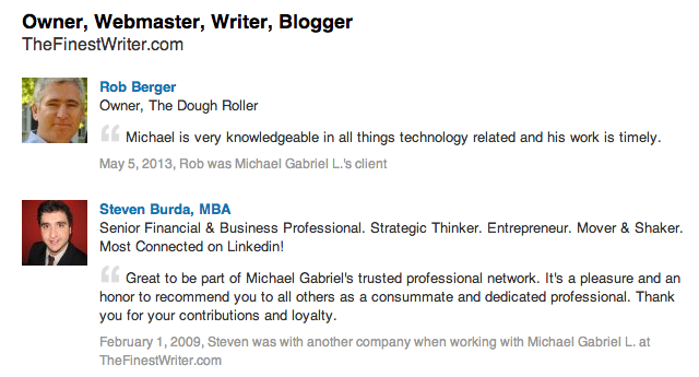 LinkedIn recommendation sample