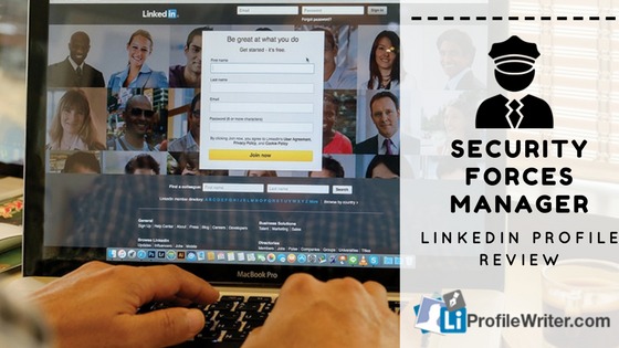 security forces manager linkedin profile review