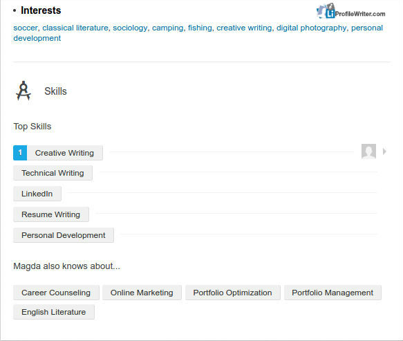 linkedIn profile interests field